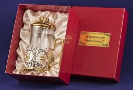 """Френч-пресс """"Кофе"""" латунь, комбинированное покрытие (серебро, золото)"""